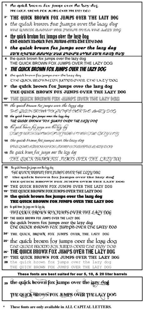 font list options