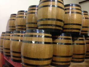 small wooden oak barrels