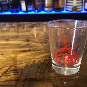 Red head barrel logo shot glass