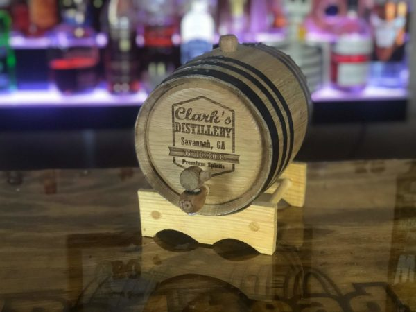 engraved 2 liter oak barrel