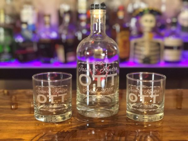 engraved wedding gift bottle glasses set