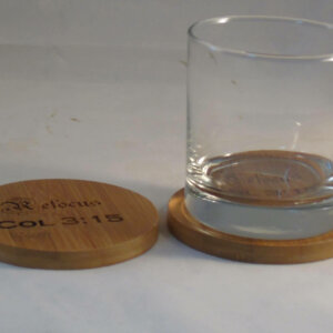 engraved coaster set bamboo