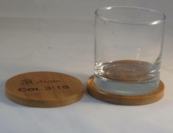 engraved coaster set bamboo