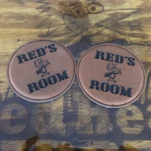 Leatherette coasters engraved