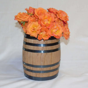 oak barrel centerpiece flower vase