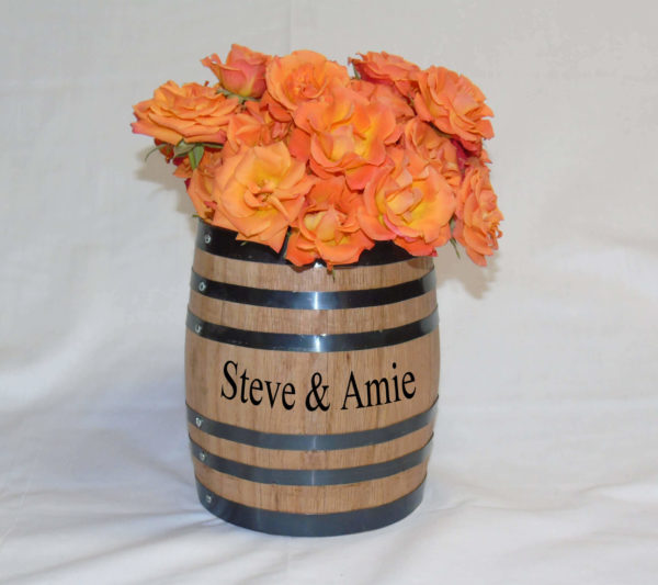 oak barrel centerpiece flower vase engraved