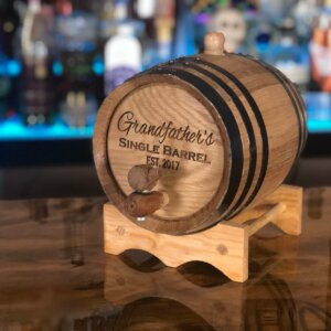 2 liter oak aging barrel engraved