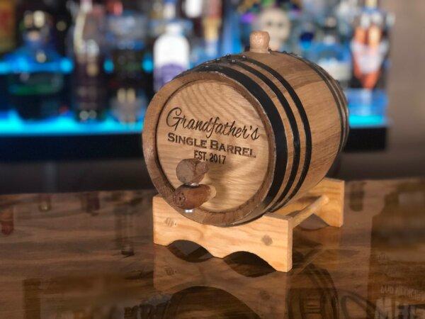 2 liter oak aging barrel engraved