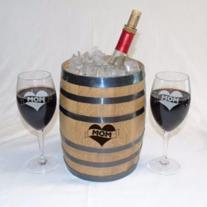 5 Liter Oak Barrel Ice Bucket w  Wine Glasses Gift Set