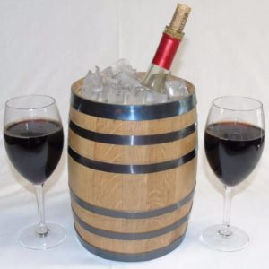 5 Liter Oak Barrel Ice Bucket w  Wine Glasses Gift Set 2