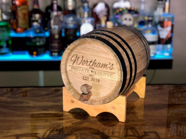 5 liter oak Barrel engraved