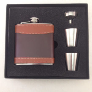 6 ounce Leather Wrapped Stainless Steel Flask Gift Set