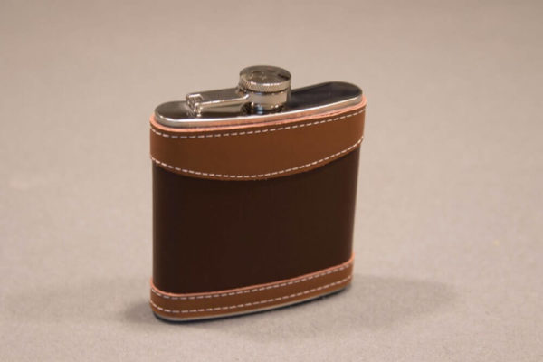 6 ounce Leather Wrapped Stainless Steel Flask Right