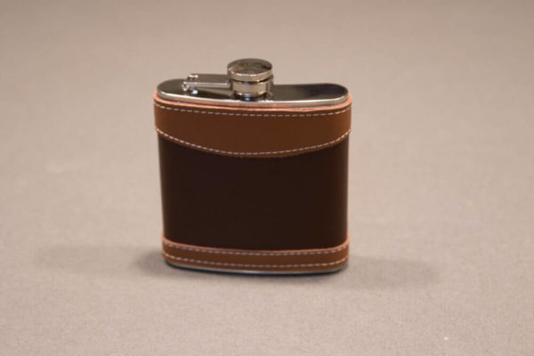 6 ounce Leather Wrapped Stainless Steel Flask left