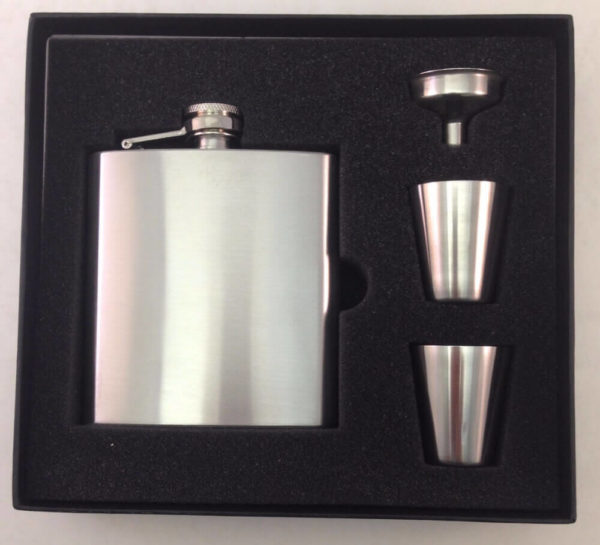 6 ounce Stainless Steel Flask Gift Set
