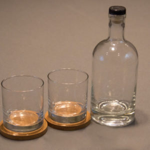 Engraved Bourbon Bottle Whiskey Glasses and Bamboo Coasters Gift Set