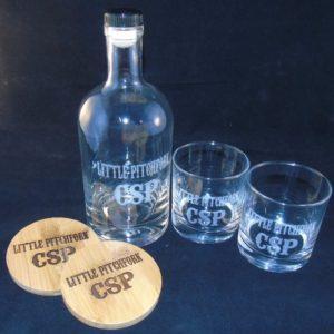 Engraved Bourbon Bottle Whiskey Glasses and Bamboo Coasters Gift Set 2