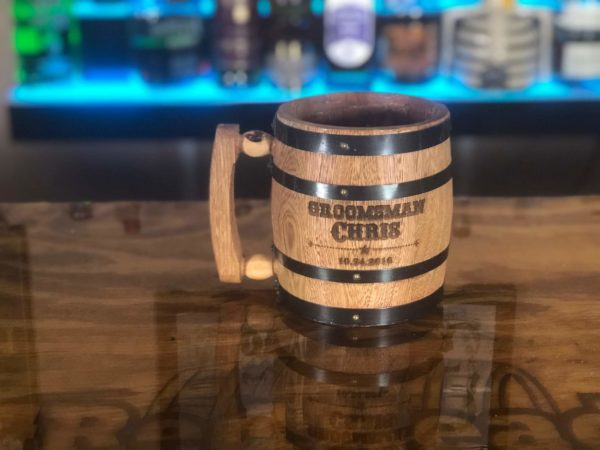 barrel mug engraved beer