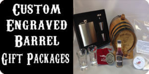 Custom Engraved mini oak barrels gift packages