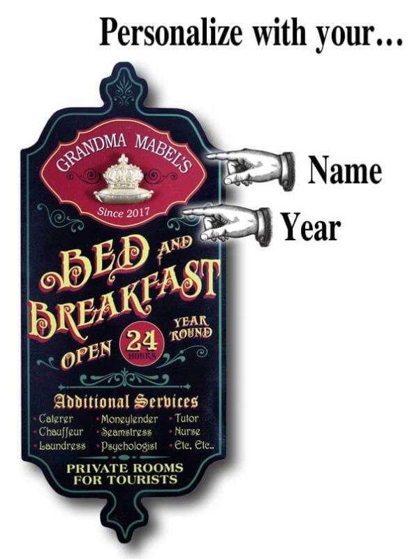 DUB 58X bed breakfast retro sign