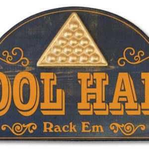 Pool hall rack em sign