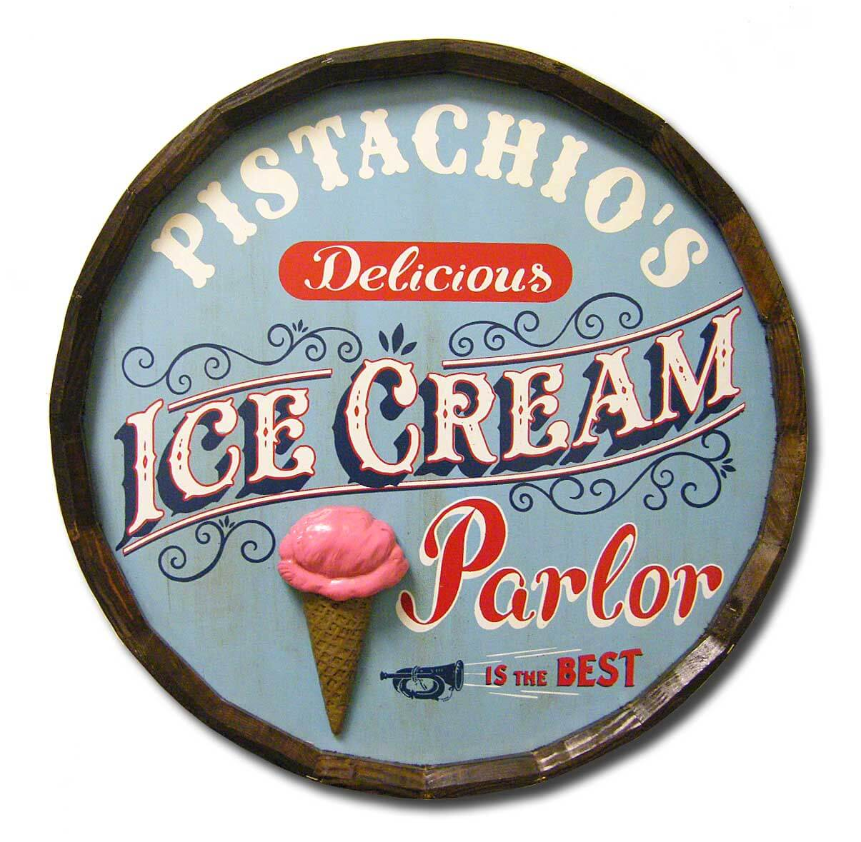 Ice Cream Parlor - Personalized Quarter Barrel Head - Red Head Oak ...