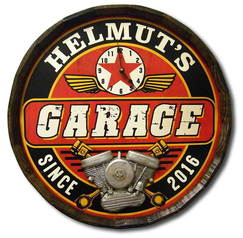 garage w clock personalized quarter barrel head red head oak barrels aging rum whiskey. Black Bedroom Furniture Sets. Home Design Ideas