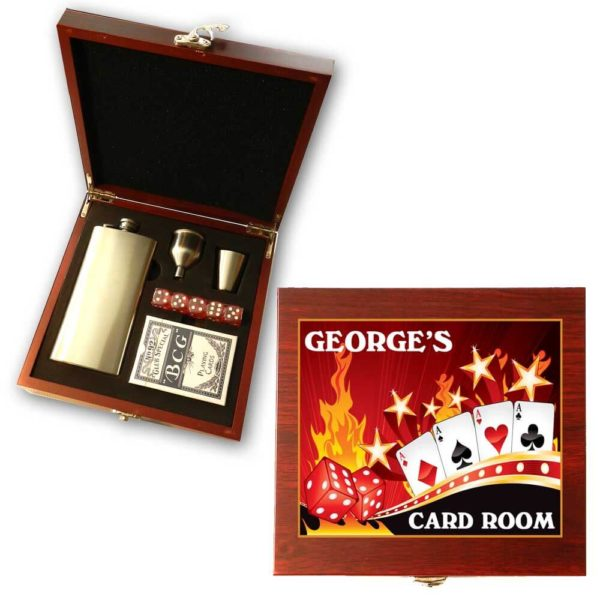 card room dice flask gift set