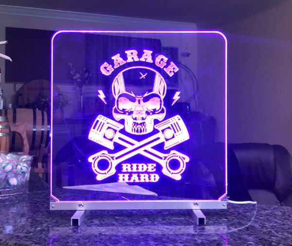 Led light sign blue