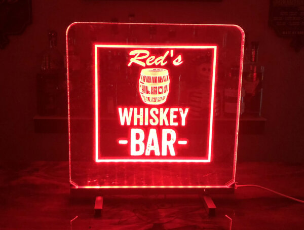 Red whiskey bar sign led