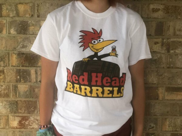 T shirt Red head barrels white