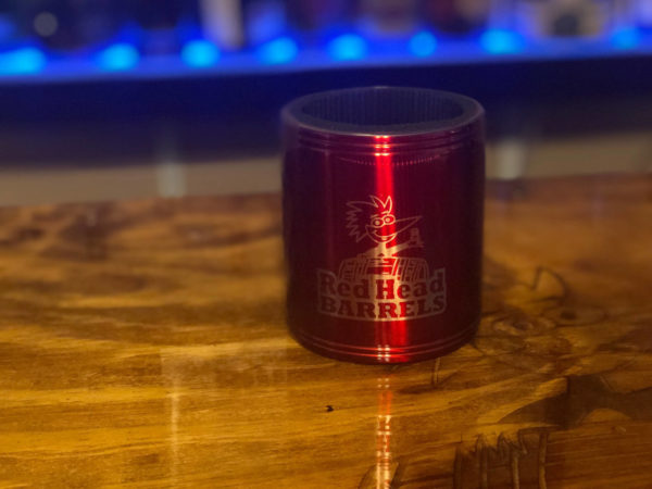 stainless koozie red head Barrels front view