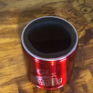 stainless koozie red head Barrels top view